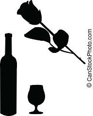 vino, e, rosa, illustrazione