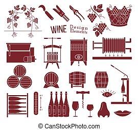 vino, elementos, diseño, elaboración, saboreo