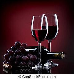 vino, en, anteojos, con, uva, y, botella, en, rojo