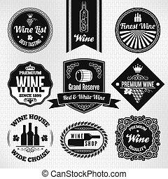 vino, etichette, set