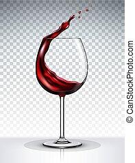 vino, isolato, vetro, fondo, trasparente, rosso, schizzo