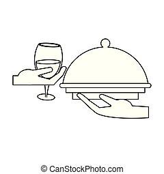 vino, negro, blanco, gastronomía, concepto