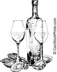 vino, ostras, dos, botella, anteojos