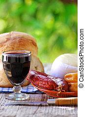 vino, portoghese, chorizo, bread, formaggio