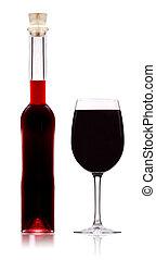 vino rojo, botella, con, vidrio, aislado