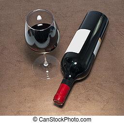 vino rojo, botella, y, vidrio