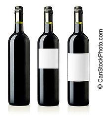 vino rojo, botellas, con, etiquetas