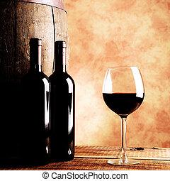 vino rojo, botellas, y, vidrio
