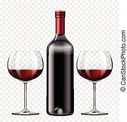 vino rojo, dos, botella, anteojos