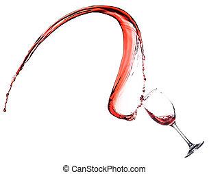 vino rojo, salpicadura, en, vidrio