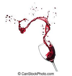 vino rojo, salpicar, de, vidrio, aislado, blanco, plano de...