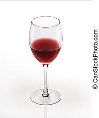 vino rojo, vidrio., blanco, fondo.