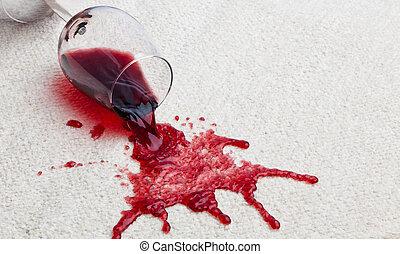vino rojo, vidrio, sucio, carpet.