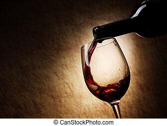 vino rojo, vidrio, y, botella