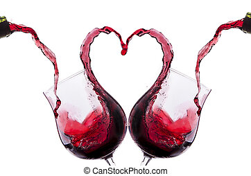 vino, romantico, pane tostato, rosso