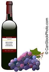 vino rosso, bottiglia, uva, &