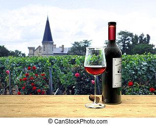vino rosso, in, francese, m?doc