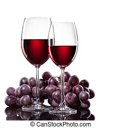 vino rosso, in, occhiali, con, uva, isolato, bianco
