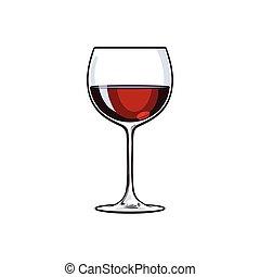 vino rosso, vetro, schizzo, vettore, illustrazione, isolato,...