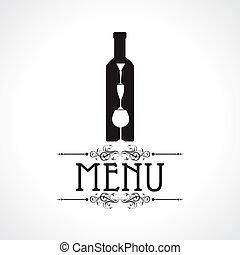 vino, scheda, bottiglia, menu, &, vetro