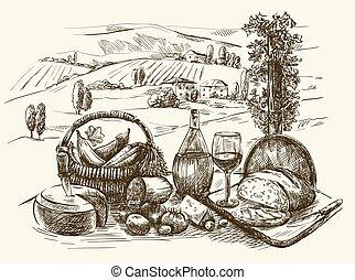 vino, tavola, verdura, formaggio, bread