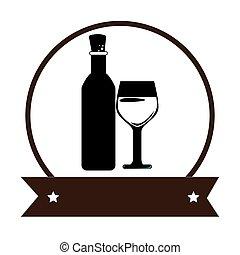 vino, taza, un, botella, aislado, icono