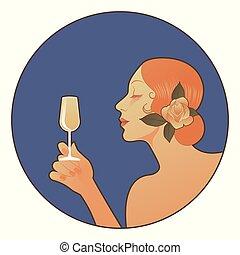 vino., tenendo bicchiere, bianco, biondo, donna, spagnolo