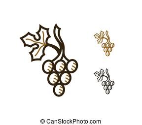 vino, uva, icono