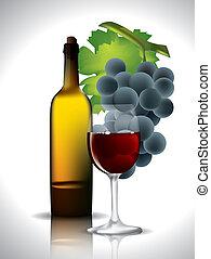 vino, uvas rojas, bodegón