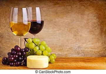 vino, uvas, y queso