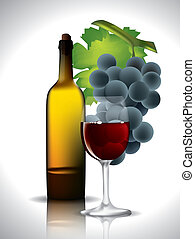 vino, uve rosse, natura morta