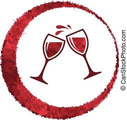 vino, vector, vidrio, rojo, salpicadura