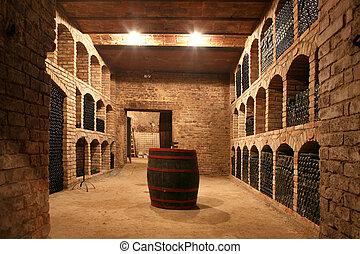 vino ventaja, botellas, apilado, en, el, viejo, sótano, de,...