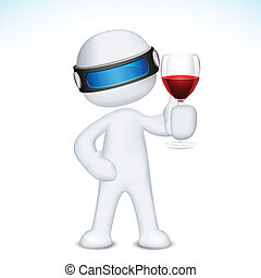 vino vetro, 3d, uomo