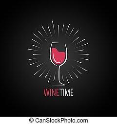 vino vetro, disegno, menu, fondo.
