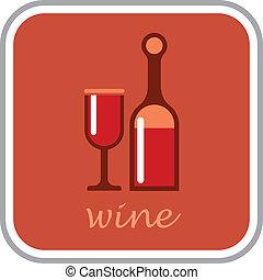 vino, -, vettore, icona