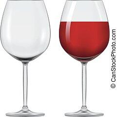 vino., vettore, wineglass, trasparente, rosso