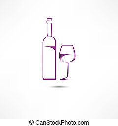 vino vidrio, botella, icono