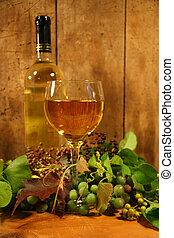vino vidrio, botella, saboreo