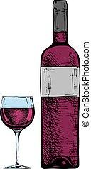 vino vidrio, bottle.