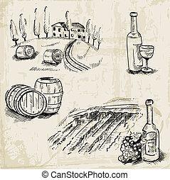 vino, winemaking, y, viña, -, mano, dibujado, ilustración,...
