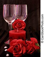 vino, y, rosas
