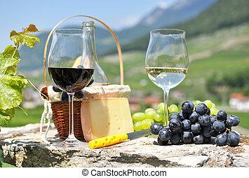 vino, y, uvas