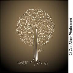 vinobraní, abstraktní, strom, kreslení