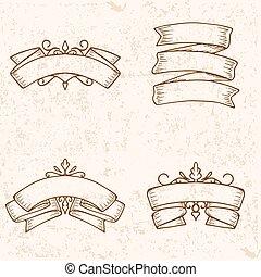 vinobraní, lem, standarta, rukopis, nahý, set., vektor, ilustrace, eps10