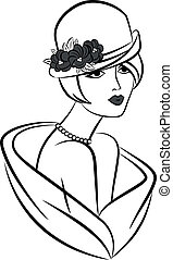 vinobraní, móda, děvče, do, hat.