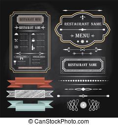 vinobraní, menu, a, calligraphic