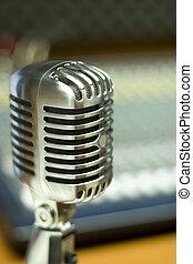 vinobraní, mikrofon, do, hudba ateliér