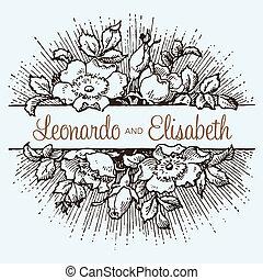 vinobraní, vektor, grafické pozadí, růže