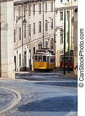 vinobraní, zbabělý, tramvaj, do, lisabon, portugalsko